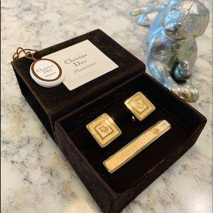 Christian Dior Cufflinks & Tie Clip